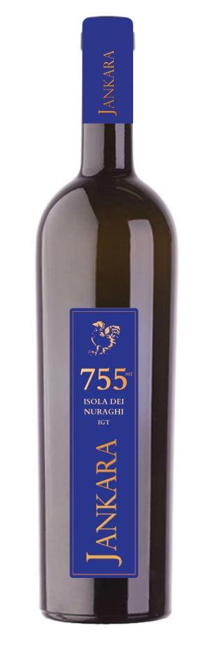 bottiglia di vino in vetro scuro con etichetta blu Jankara 755