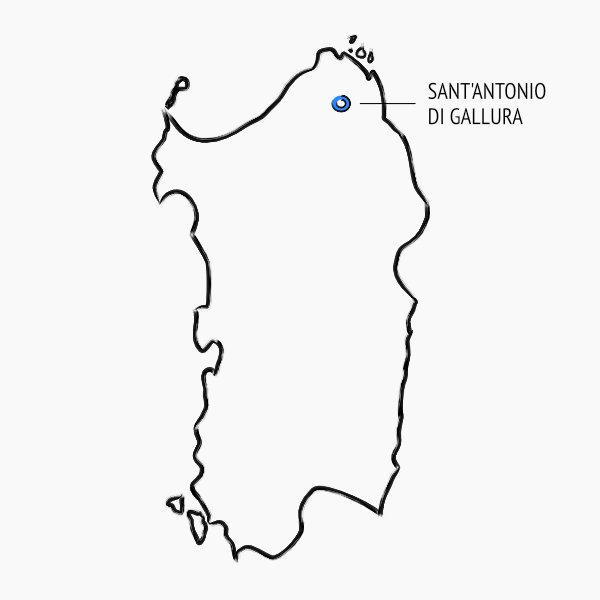 Posizione sulla mappa della Sardegna dei vigneti Jankara in Gallura