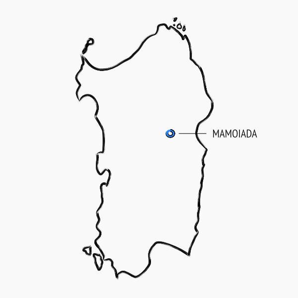 Posizione sulla mappa della Sardegna dei vigneti Cannonau Jankara a Mamoiada