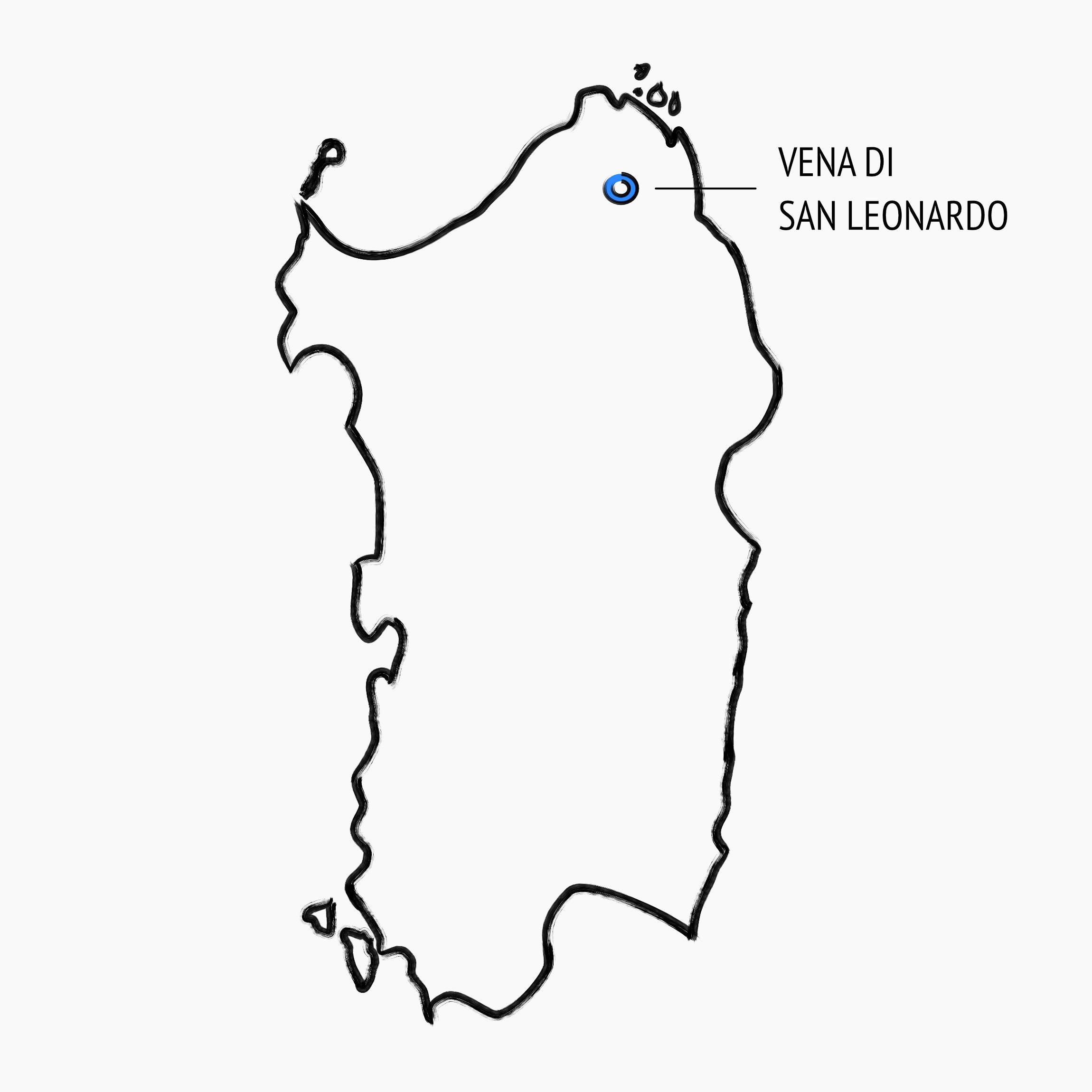 posizione sulla mappa della Sardegna della vena di San Leonardo, zona di produzione del nostro vermentino, nei pressi di Sant'Antonio di Gallura