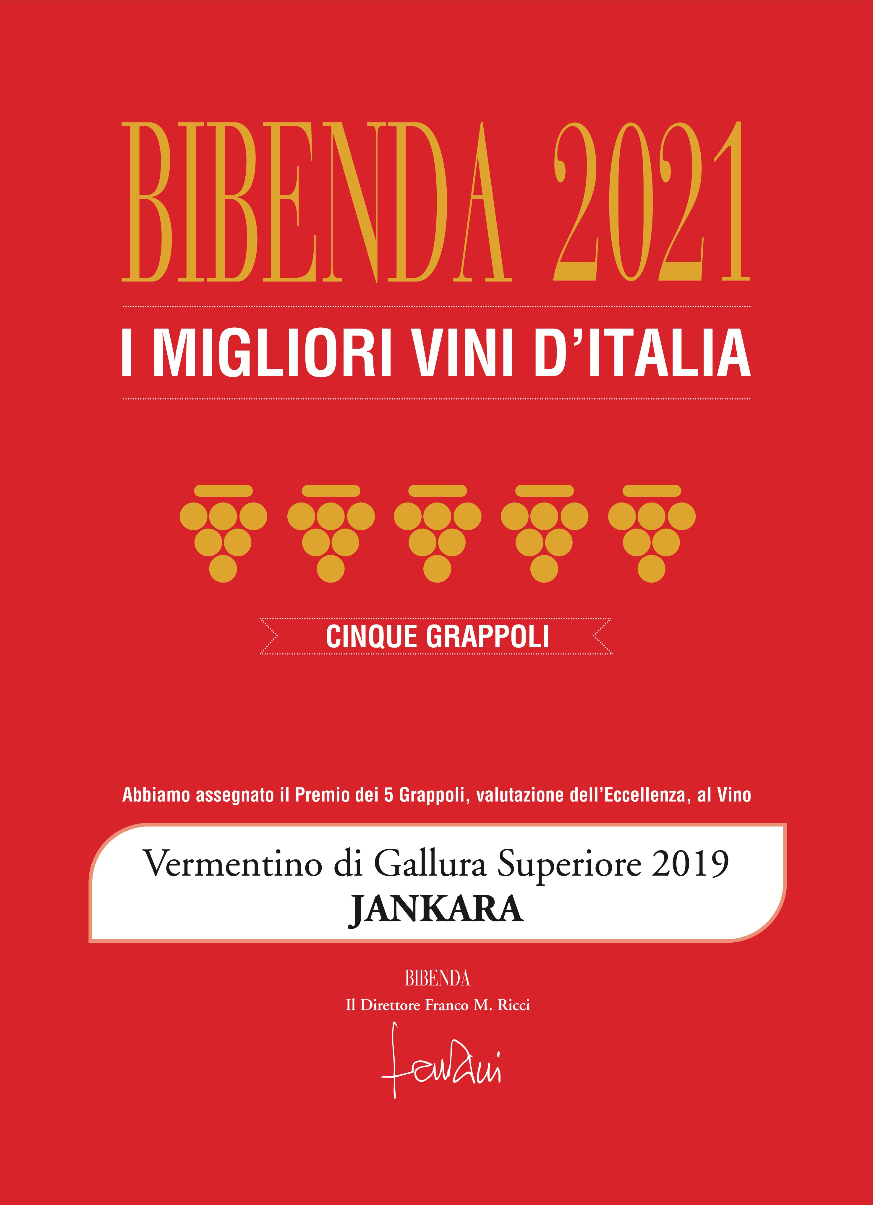 Bibenda 5 Grappoli 2021 award