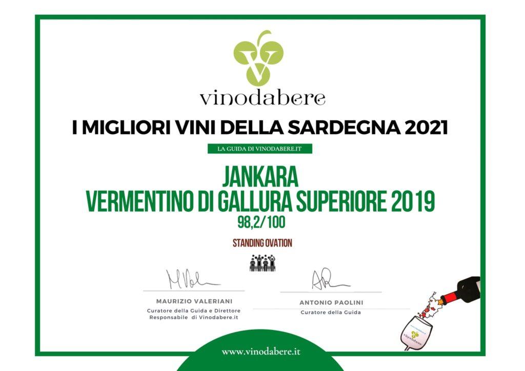 premio standing ovation vini migliori della sardegna 2021 vermentino di gallura superiore Jankara